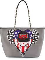 Love Moschino Racing Flags Saffiano Faux-Leather Tote Bag, Black