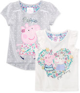 Nickelodeon Nickelodeon's Peppa Pig 2-Pc. Embellished Top Set, Toddler and Little Girls (2T-6X)