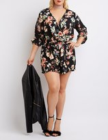 Charlotte Russe Plus Size Floral Ruffle Surplice Romper