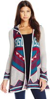 Derek Heart Junior's Aztec Jacquard Bell Long Sleeve Swing Hooded Cardigan Sweater