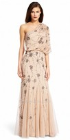 Adrianna Papell One shoulder Draped Sequin Cluster Evening Dress