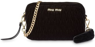 Miu Miu Matelassé velvet shoulder bag