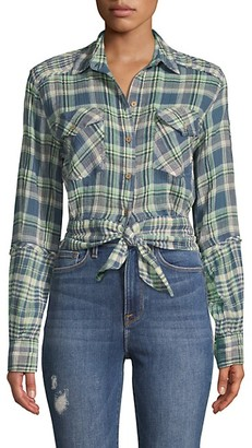 Free People First Bloom Tie-Front Plaid Shirt