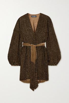 retrofete Gabrielle Belted Sequined Chiffon Wrap Mini Dress - Green