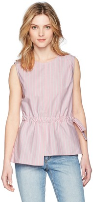 EVIDNT Women's TIE Waist Adjustable Sleeveless FIT & Flare Stripe Blouse