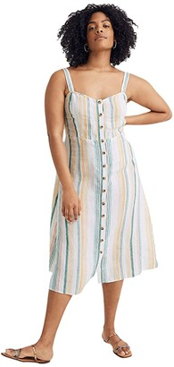 Madewell Linen Fitted-Bodice Midi Dress in Stripe (Pale Parchment Carnival Stripe) Women's Clothing