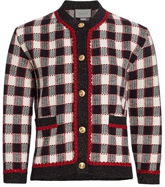 Gucci Wool Knit Plaid Jacket