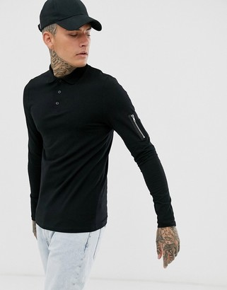 Asos Design DESIGN skinny long sleeve polo shirt with stretch and MA1 pocket in black