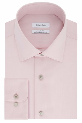 Calvin Klein Men's Regular Fit Non Iron Herringbone Spread Collar Dress Shirt