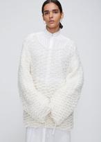 Ann Demeulemeester Trapper Ecru Oversize Open Neck Knit
