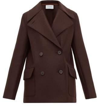 Harris Wharf London Pressed Virgin Wool Felt Peacoat - Womens - Dark Brown