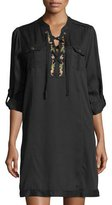 philosophy Lace-Up Embroidered Shift Dress
