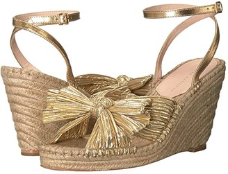 Loeffler Randall Charley Pleated Knot Espadrille Wedge (Gold Pleated Lame) Women's Shoes