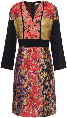 Etro Patchwork Brocade, Lame And Crepe Dress
