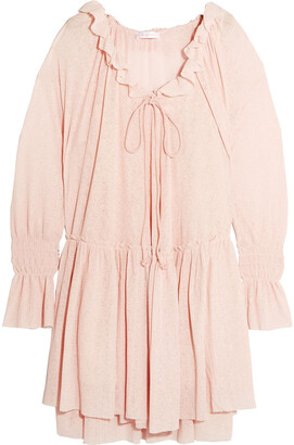 See by Chloe Bow-detailed Ruffle-trimmed Gauze Dress