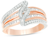 Zales 1/2 CT. T.W. Baguette and Round Diamond Bypass Swirl Multi-Row Ring in 10K Two-Tone Gold