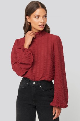 NA-KD Frill Neck Structured Blouse White
