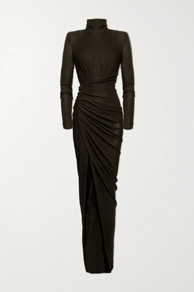 Alexandre Vauthier Ruched Stretch-lame Gown - Army green