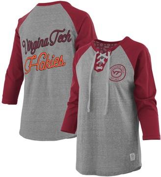 Unbranded Women's Pressbox Heathered Gray/Maroon Virginia Tech Hokies Two-Hit Lace-Up Raglan Long Sleeve T-Shirt