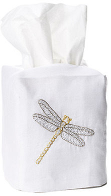 Hamburg House Dragonfly Tissue Box Cover, White Linen