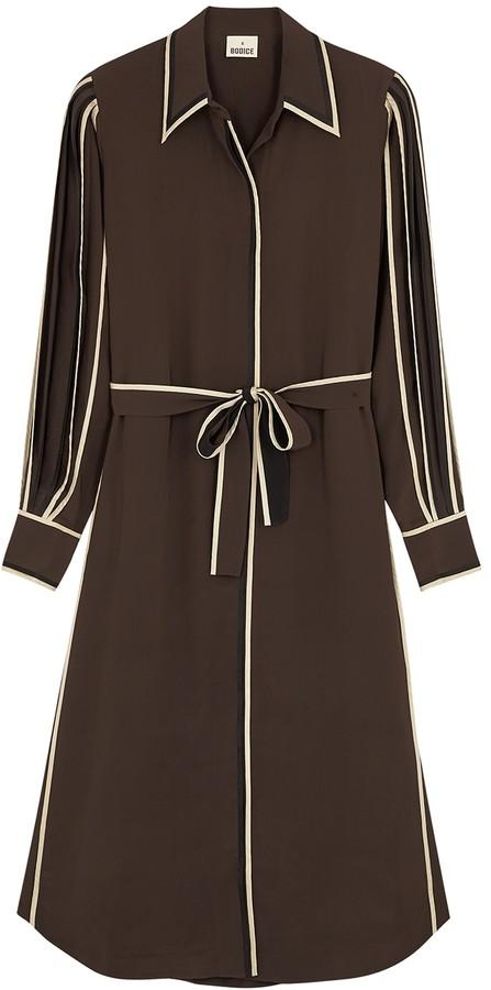 BODICE Brown silk crepe de chine shirt dress