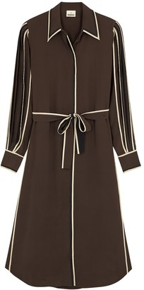 BODICE Brown silk crepe de chine shirt dress