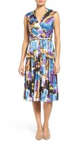 Ellen Tracy Women's Belted Brushstroke Print Satin Fit & Flare Dress