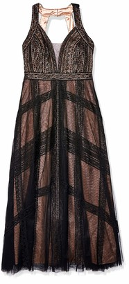 City Chic Women's Apparel Women's Plus Size Maxi drace with lace Detail and mesh Overlay