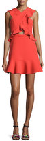 BCBGMAXAZRIA Careen Ruffled Cutout Dress, Bright Poppy Red