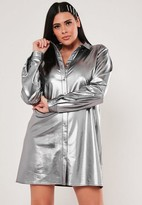 Missguided Plus Size Silver Oversized Shirt Dress