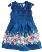 Us Angels Little Girl's Pleated Crocheted Popover Dress