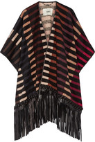 Fendi Fringed Leather-trimmed Striped Camel Hair-blend Cape - Black