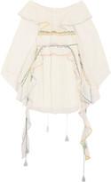 Chloé Off-the-shoulder ruffled linen-blend tulle dress