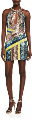 ONE33 SOCIAL Sequin Mini Halter Dress