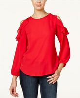 Amy Byer Juniors' Ruffled Cold-Shoulder Top