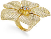 Charter Club Gold-Tone Large Crystal Flower Statement Ring, Only at Macy's