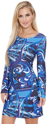 White Mark Women's Long Sleeve Geometric Print Dress