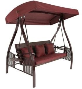 Sunnydaze Decor 3-Seat Deluxe Outdoor Patio Swing with Canopy