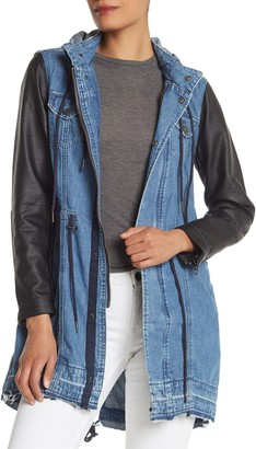 Blank NYC Blanknyc Denim Denim & Faux Leather Long Hooded Jacket