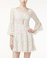 Amy Byer Juniors' Lace Bell-Sleeve A-Line Dress