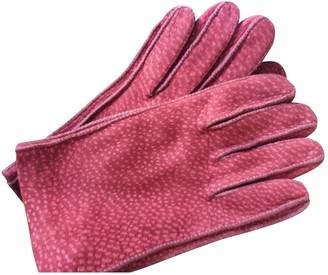 Saint Laurent Bordeaux Leather Gloves