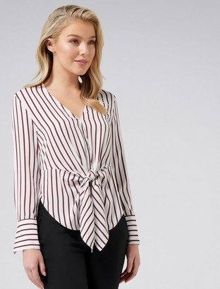 Forever New Deborah Stripe Tie Front Blouse - Burgandy Stripe - 14