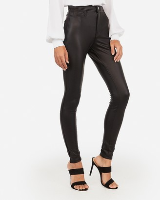 Express High Waisted Vegan Leather Five Pocket Leggings