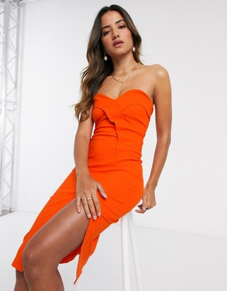 Vesper bandeu midi dress with split in orange