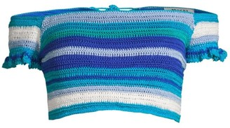 All Things Mochi Jamie Crochet Stripe Off-The-Shoulder Bikini Top