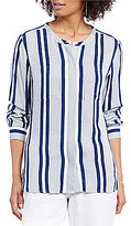Vince Camuto Two by Long Sleeve Stripe Rows Collarless Utility Shirt