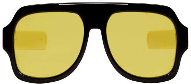 Gucci Black and Yellow Sport Sunglasses