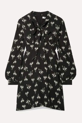 RE/DONE 60s Pussy-bow Printed Silk-crepe Mini Dress - Black