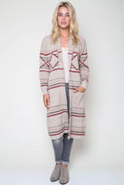 Goddis Patterned Vance Longline Knit Jacket In Sand City