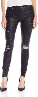 7 For All Mankind Women's Tall-Size Ankle Skinny with Released Hem and Destroy Jean